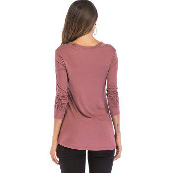 V Neck Cut Out Shoulder Top - TULIP PINK L