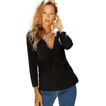 V Neck knotted Front Long Sleeve Casual Top - NIGHT XL