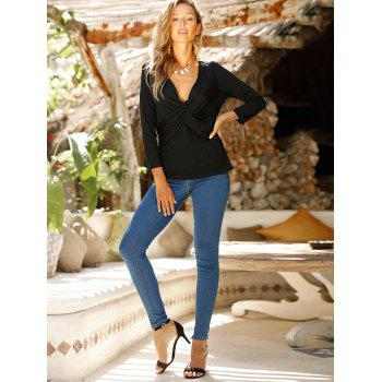 V Neck knotted Front Long Sleeve Casual Top - NIGHT S
