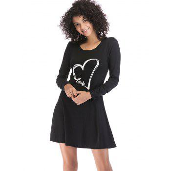Heart Print Slim Fit Long Sleeve Dress - BLACK XL