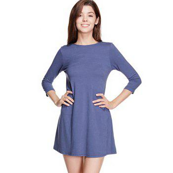 Long Sleeve Back Lace Up Mini Dress - BLUE GRAY L