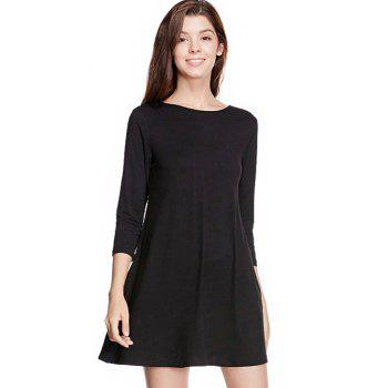 Long Sleeve Back Lace Up Mini Dress - BLACK XL