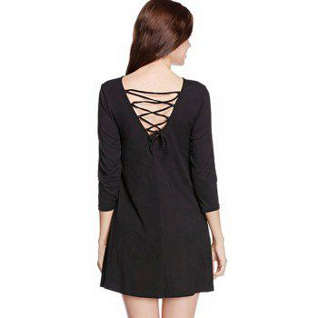Long Sleeve Back Lace Up Mini Dress - BLACK S