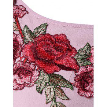 Plus Size Embroidery Open Shoulder Blouse - DEEP PINK 3X