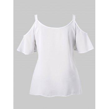 Plus Size Embroidery Open Shoulder Blouse - WHITE 1X