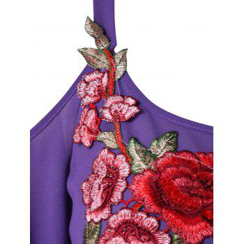 Plus Size Embroidery Open Shoulder Blouse - PURPLE L