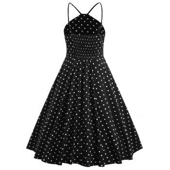Polka Dot Knee Length Swing Dress - BLACK M