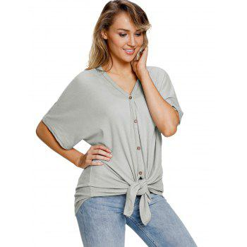 Button Up V Neck Top - GRAY S