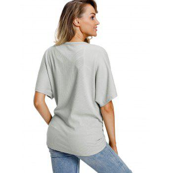 Button Up V Neck Top - GRAY M