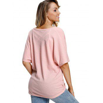 Button Up V Neck Top - PINK S