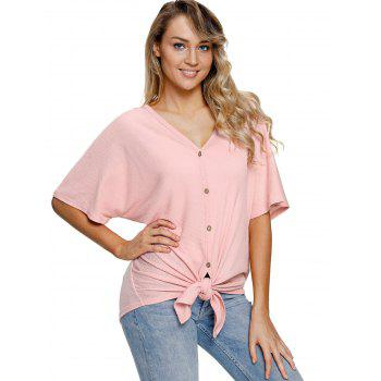 Button Up V Neck Top - PINK M