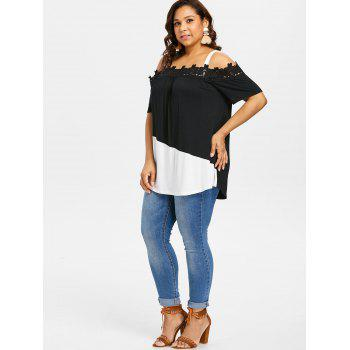 Plus Size Applique Color Block Long Tee - BLACK 2X