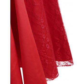 Lace Panel Maxi Formal Dress - RED M