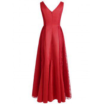 Lace Panel Maxi Formal Dress - RED 2XL