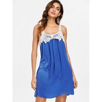 Back Applique Sleeveless Shift Dress - BLUE M