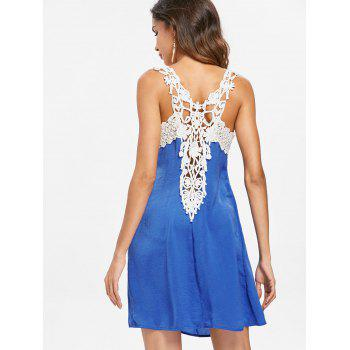 Back Applique Sleeveless Shift Dress - BLUE L