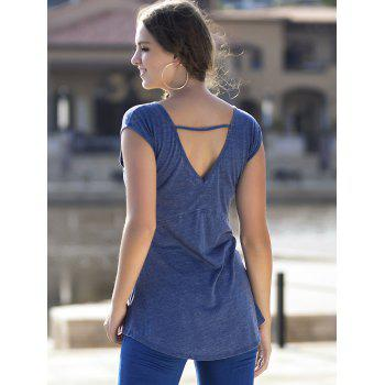 Cut Out Back Short Sleeve Basic T-shirt - BLUE JAY S