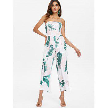 Leaf Print Wide Leg Jumpsuit - WHITE M