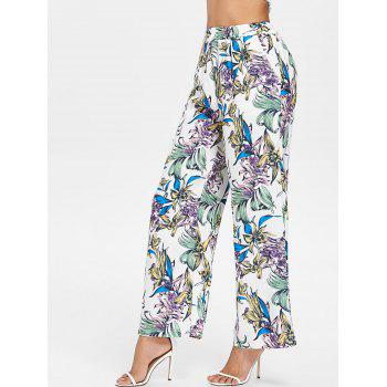 High Waist Flower Palazzo Pants - multicolor M
