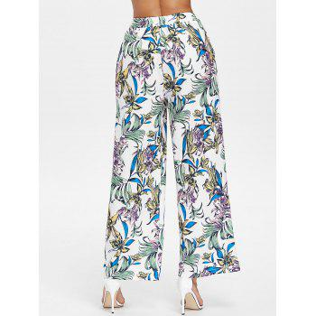 High Waist Flower Palazzo Pants - multicolor XL