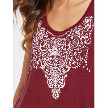 Arab Printed Tank Top - RED WINE S