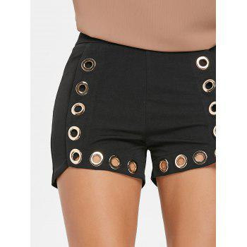 Skinny Shorts with Grommets - BLACK 2XL