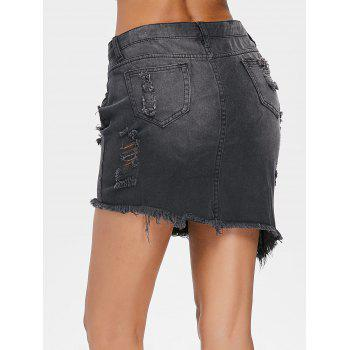 Mini Distressed Denim Skirt - BLACK M
