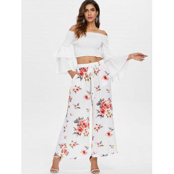 High Waisted Floral Print Palazzo Pants - WHITE L