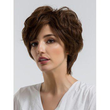 Short Side Bang Layered Fluffy Slightly Curly Human Hair Wig - COFFEE