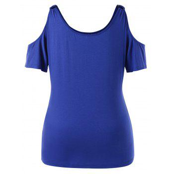 Plus Size Ring Details Cold Shoulder T-shirt - BLUEBERRY BLUE 5X
