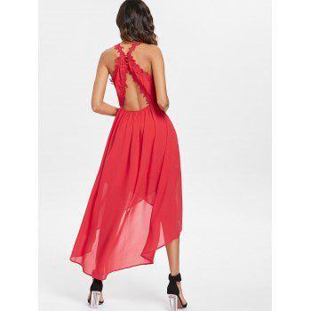 Plunging Neckline Open Back High Low Dress - RED XL