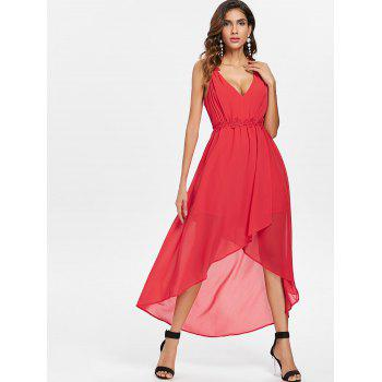 Plunging Neckline Open Back High Low Dress - RED L