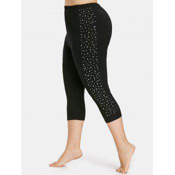 Plus Size Sparkly Capri Leggings - BLACK L