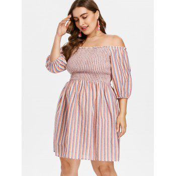 Plus Size Smocked Striped Dress - multicolor 1X