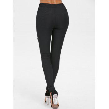 Lace Up Skinny Pants - BLACK 2XL