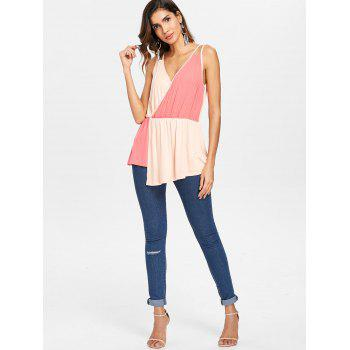 Color Block Sleeveless Surplice Top - multicolor M