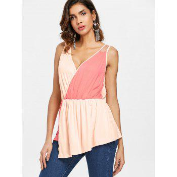 Color Block Sleeveless Surplice Top - multicolor L