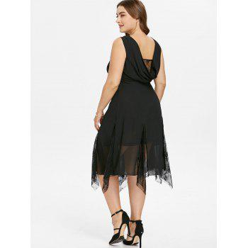 Plus Size Lace Trim Sleeveless Flowy Dress - BLACK 5X