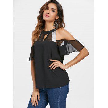Keyhole Neck Shiny Brim Chiffon Blouse - BLACK XL