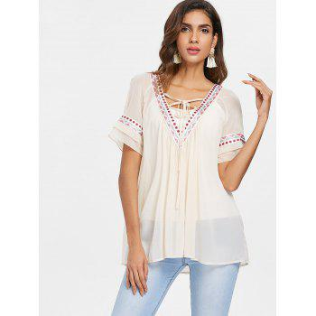 Ethnic Embroidery Tunic Chiffon Blouse - WARM WHITE M