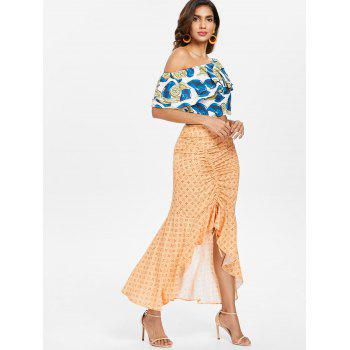 Flounce Skew Collar Top and Skirt Set - multicolor XL