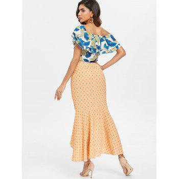 Flounce Skew Collar Top and Skirt Set - multicolor M