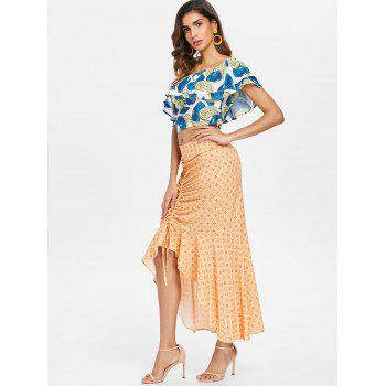 Flounce Skew Collar Top and Skirt Set - multicolor L