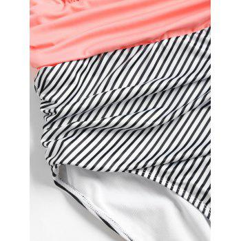 Striped Halter High Leg Swimsuit - ORANGE PINK XL