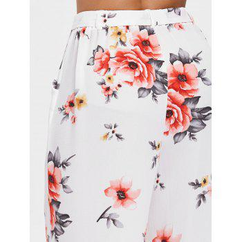 High Waisted Floral Print Palazzo Pants - WHITE 2XL