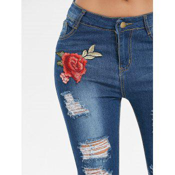 Embroidered Applique Skinny Distressed Jeans - DENIM DARK BLUE L