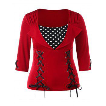 Plus Size Polka Dot Insert Top - FIRE ENGINE RED L