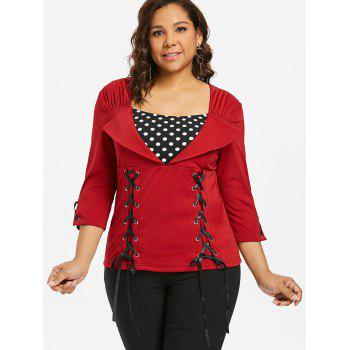 Plus Size Polka Dot Insert Top - FIRE ENGINE RED 2X