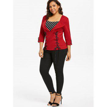 Plus Size Polka Dot Insert Top - FIRE ENGINE RED 3X