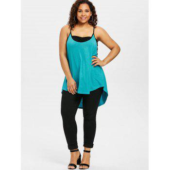 Plus Size High Low Tank Top With Tube Top - MACAW BLUE GREEN 1X